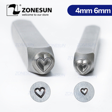 ZONESUN Heart Jewelry Stamping Metal Custom LOGO Steel Stamps Mold Marking Tool Punch Die For Leather Ring Bracelet Necklace