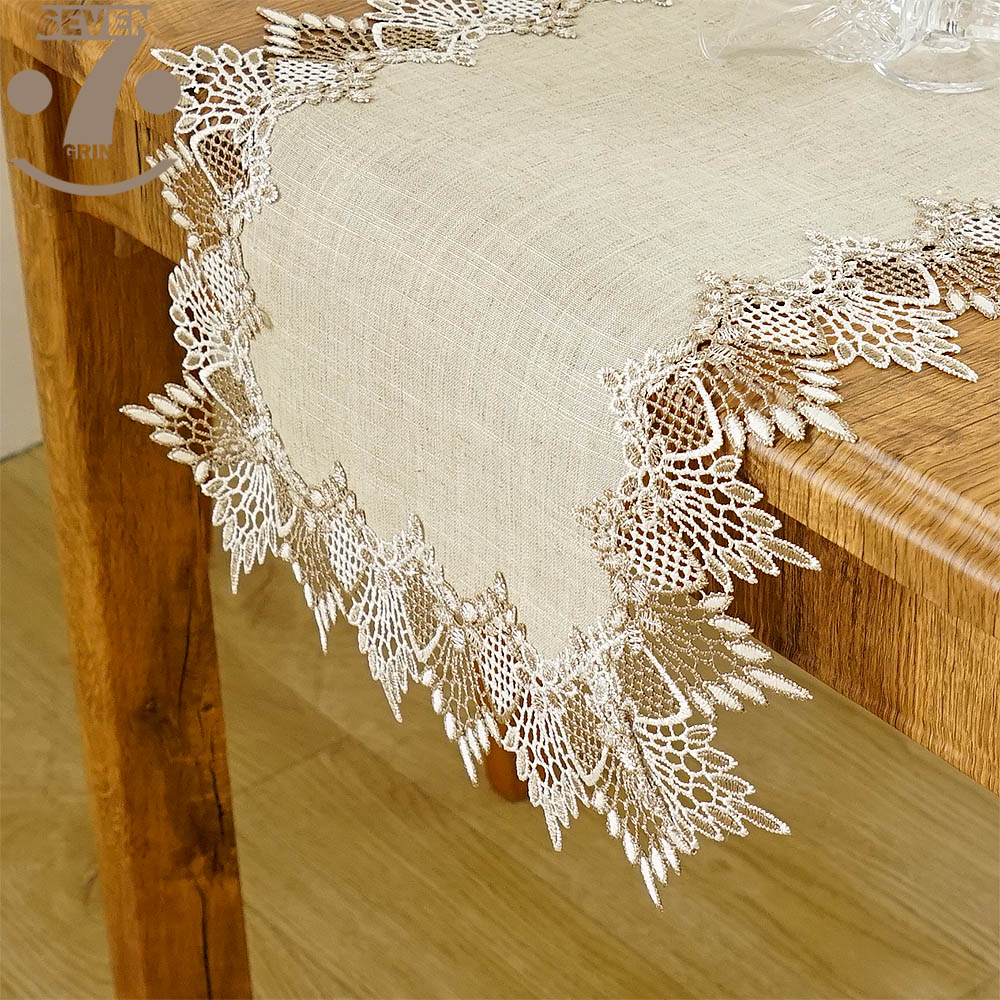 Free Shipping Home Decorative Embroidered 2 Tone Border Linens Vintage Style Table Runner