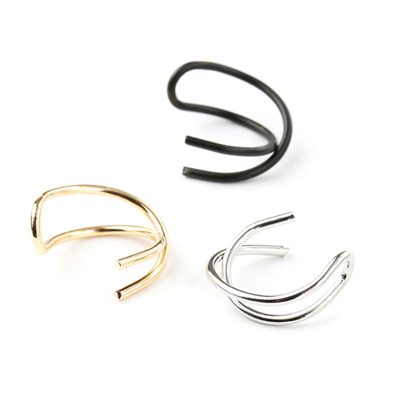 Free Shipping 1 PC Fashion Simple Double C Cartilage Non-piercing Cuff Clip On Ear Earrings Gifts For Women Men(China)