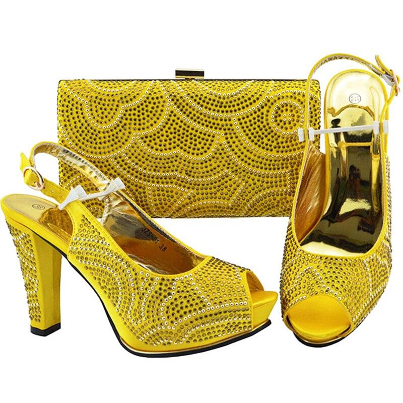 Passenden Pumpt Frauen Party African yellow Hochzeit Fuchsia Und royal Strass Schuhe Blue schwarzes Tasche purple Mit Neue Schuh Italienische Für Set Verziert Pqg5x8p