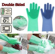 1 пара Волшебные силиконовые очистки перчатки для мытья посуды Кухня аксессуары перчатки для мытья посуды для очистки автомобиля Pet Кисть