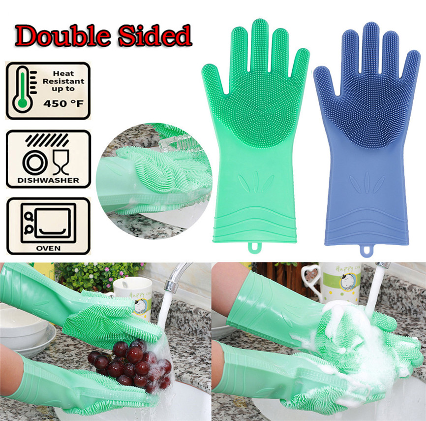 1 Pair Magic Silicone Cleaning Gloves Dish Washing Kitchen Accessories Dishwashing Glove For Cleaning font b