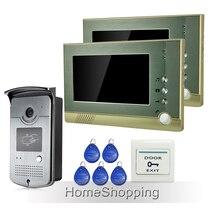 """Envío Gratis Home Portero Automático de 7 """"TFT de Video de La Puerta Sistema de Intercomunicación Teléfono + 1 Cámara de La Puerta de Acceso RFID + 2 Monitores En Inventario Al Por Mayor"""
