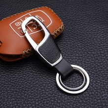 High-grade leather mens metal keychain New pendant for