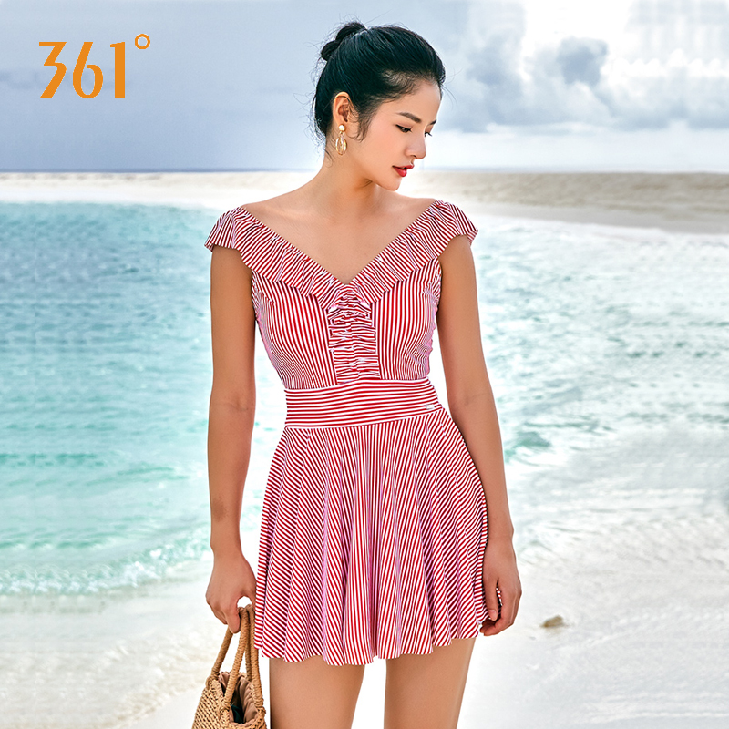 361 Women One Piece Swimsuit Pink Stripe Skirt Swimwear Deep V Ruffles One Piece Bathing Suit 2018 New Ladies Hot Springs Bather in Body Suits from Sports Entertainment