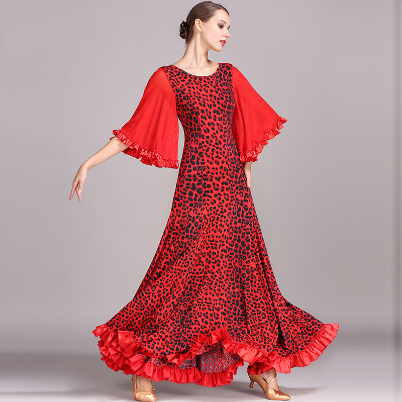 Standard Ballroom Dress Women Flamenco Tango Dresses Ice Silk Printing Lady Modern Clothing Performance Practice Wear DN1246