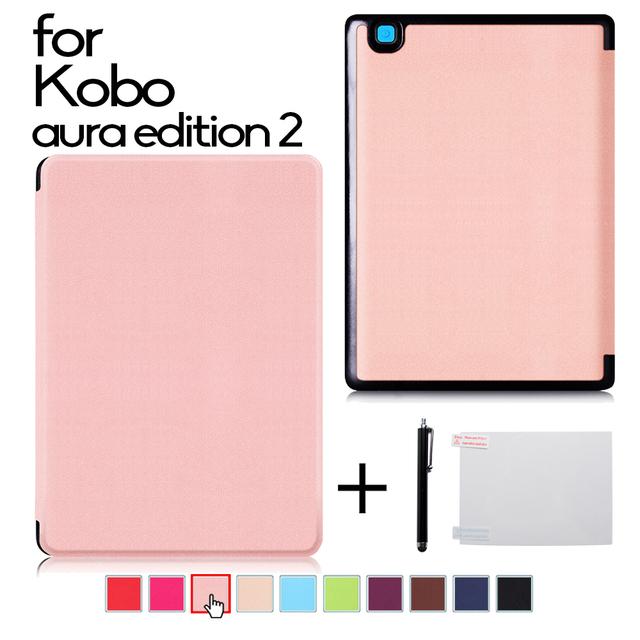 Ultra delgada de la pu cubierta de cuero para 2016 nuevo kobo aura edición 2 6 ''Ereader cubierta protectora del caso + protector de la película + stylus