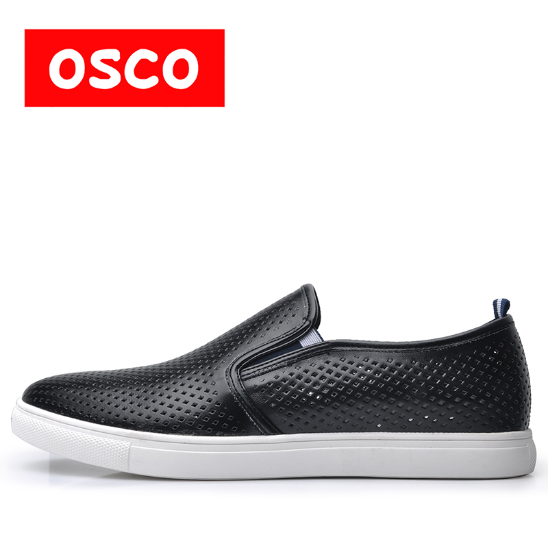 OSCO Brand Fashion Lace-up Casual Flats Shoes Men Comfortable Classical Dress Driving Shoes Plus Size 40-48 Black#S3648