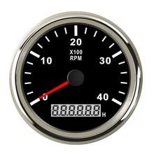 85mm 4000 rpm Horímetro Tacômetro RPM Medidor Com LED Marine Boat fit 9-32 de Popa do Barco Do Caminhão Do Carro v Com Backlight