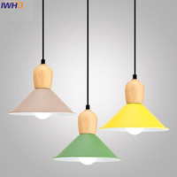 IWHD Single Head Modern LED Pendent Lights Color Iron Luminaire Home Lighting Fixtures Pendant Lamp For Kitchen Lamparas Lustre