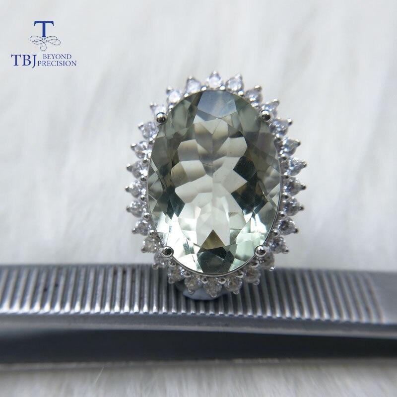 TBJ ، ديانا الدائري ، كبير 11ct جمشت أخضر حلقة ، خاتم الأحجار الكريمة في 925 فضة الأحجار الكريمة مجوهرات للبنات مع هدية مربع-في خواتم من الإكسسوارات والجواهر على  مجموعة 1