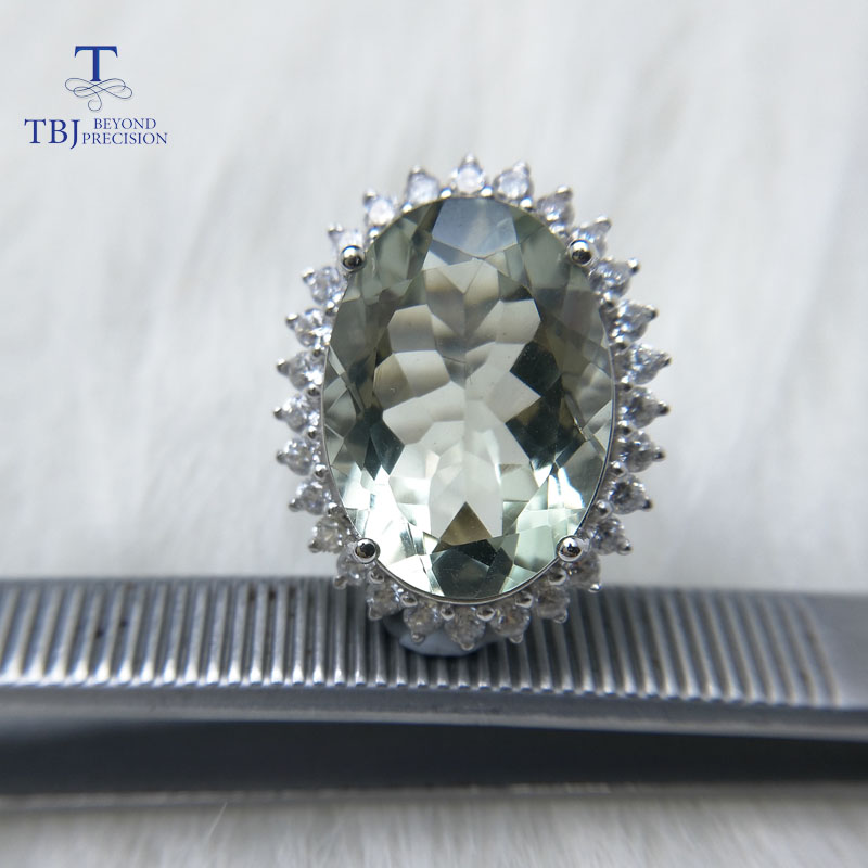 TBJ,Diana's Ring, Big 11ct Green Amethyst Ring,gemstone Ring In 925 Sterling Silver Gemstone Jewelry For Girls With Gift Box