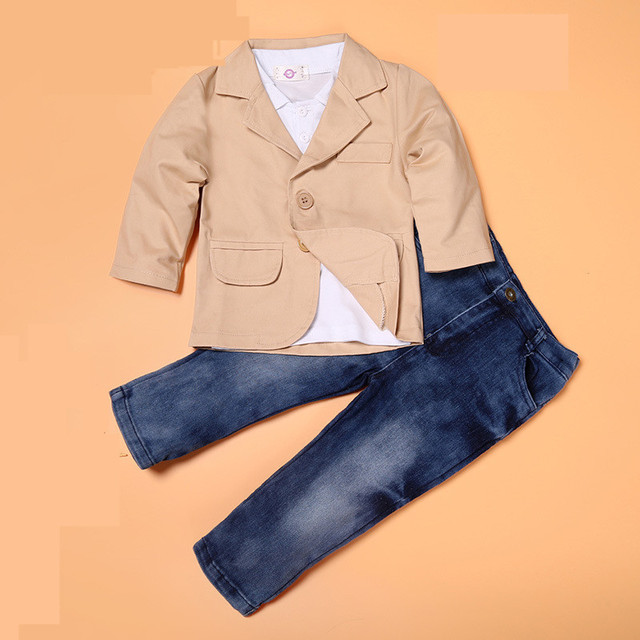 Boutique pure color de traje caballero del muchacho de moda 3 unids/set camisa casual + coat + denim jeans de Color Caqui