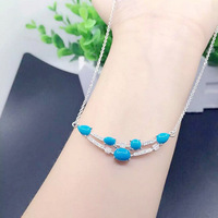 8c5194468392 KJJEAXCMY Boutique Jewelry 925 Silver Natural Beauty Turquoise Ladies  Necklace