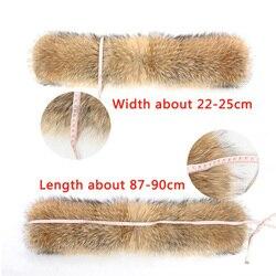 2017 Women Winter Fashion Casual Natural Large 100% Real Raccoon Fur Collar Hooded Good Quality size 88*22  Almofada Furminators