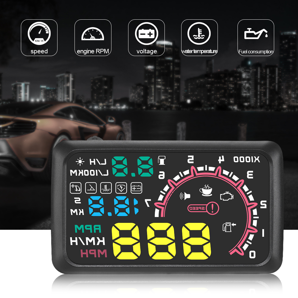 Fuel Consumption RPM Water TEMP Plug /& Play for OBD2 and EUOBD Speed Limit Warning Universal Car Windshield HUD Head Up Display Screen with MPH//KM//h