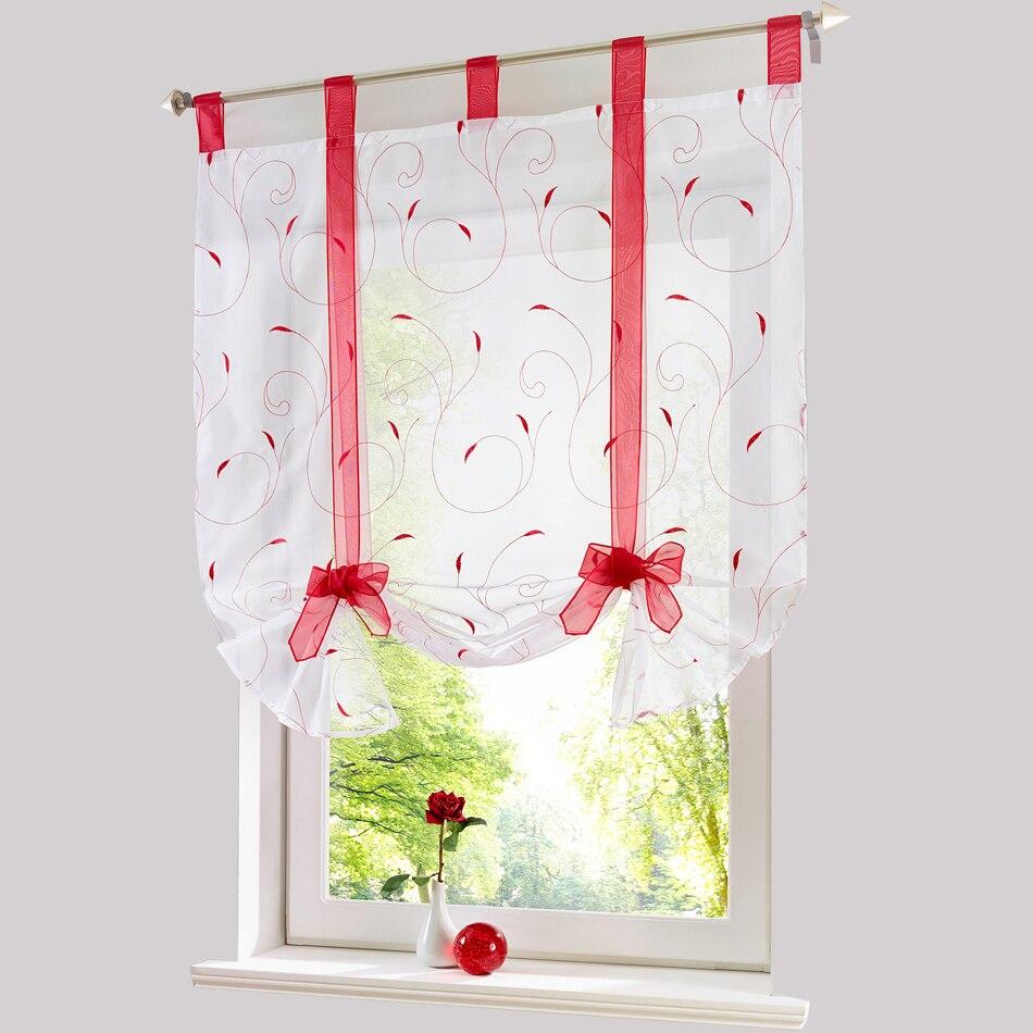 Cheap kitchen curtains window treatments - Roman Shade European Embroidery Style Window Curtain Kitchen Curtain Voile Sheer Tab Top Window Bonprix Brand