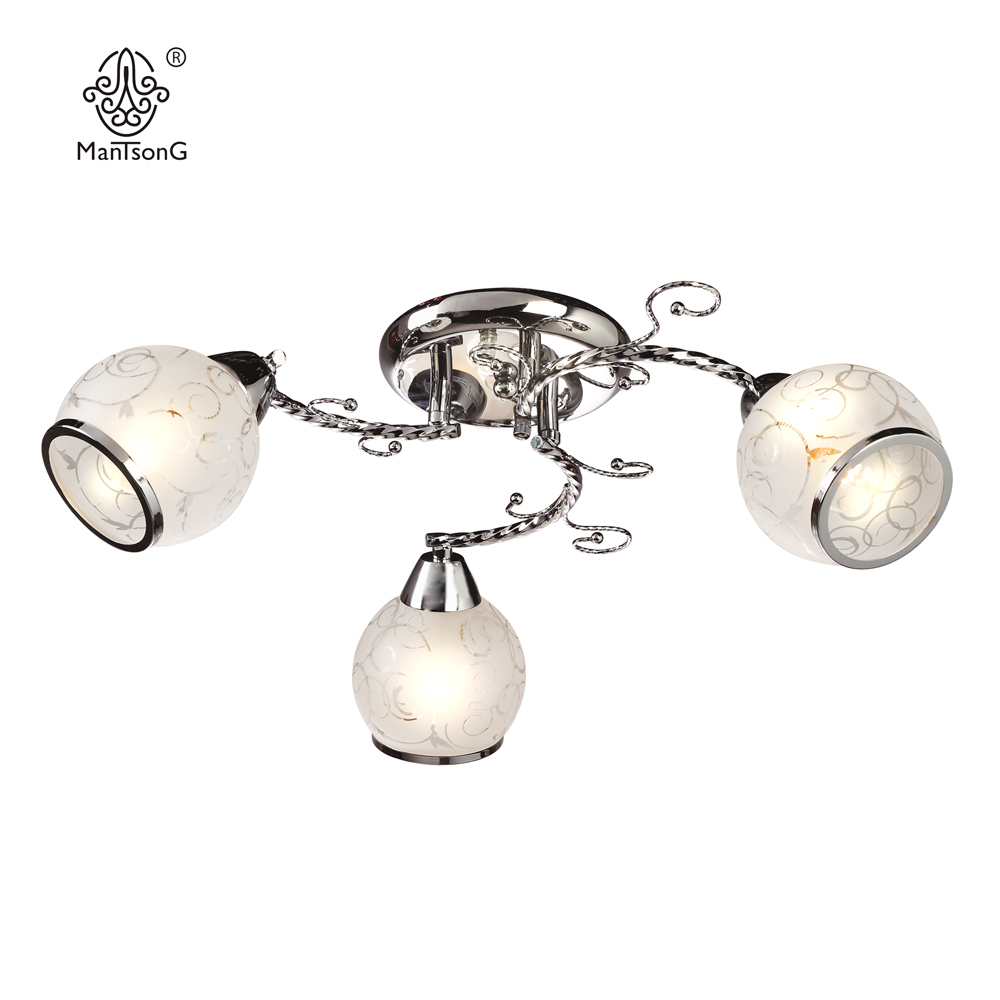 Classical Ceiling Lamp LED E14 Bulb Recommend Bedroom Lights 3 head Glass Shade Light Home Lighting Chandelier Modern Crome