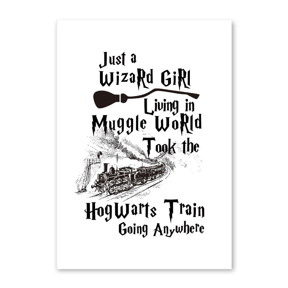 Just A Wizard Living In Muggle World Train Broom Print