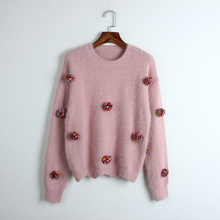 495eabe51a Detail Feedback Questions about Women Sweaters O neck Knit Pullovers 2018  Autumn Winter Mink Cashmere Casual Sweater Mix Color Pom Pom appliques Pink  ...