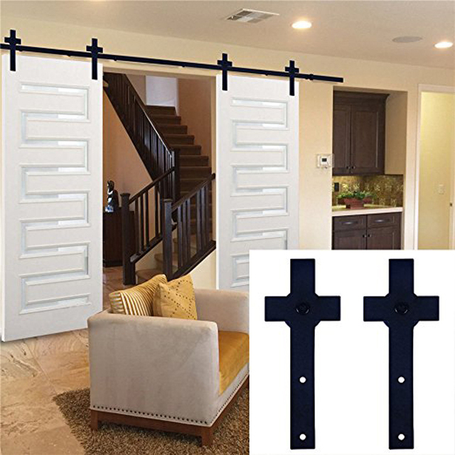 Ship From Usa Double Barn Door Rollers Track Hanging Sliding Garage