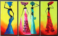 Handmade Modern Home Wall Art 3 Panel Pictures Handpainted Figure Oil Painting Abstract Colorful African Women