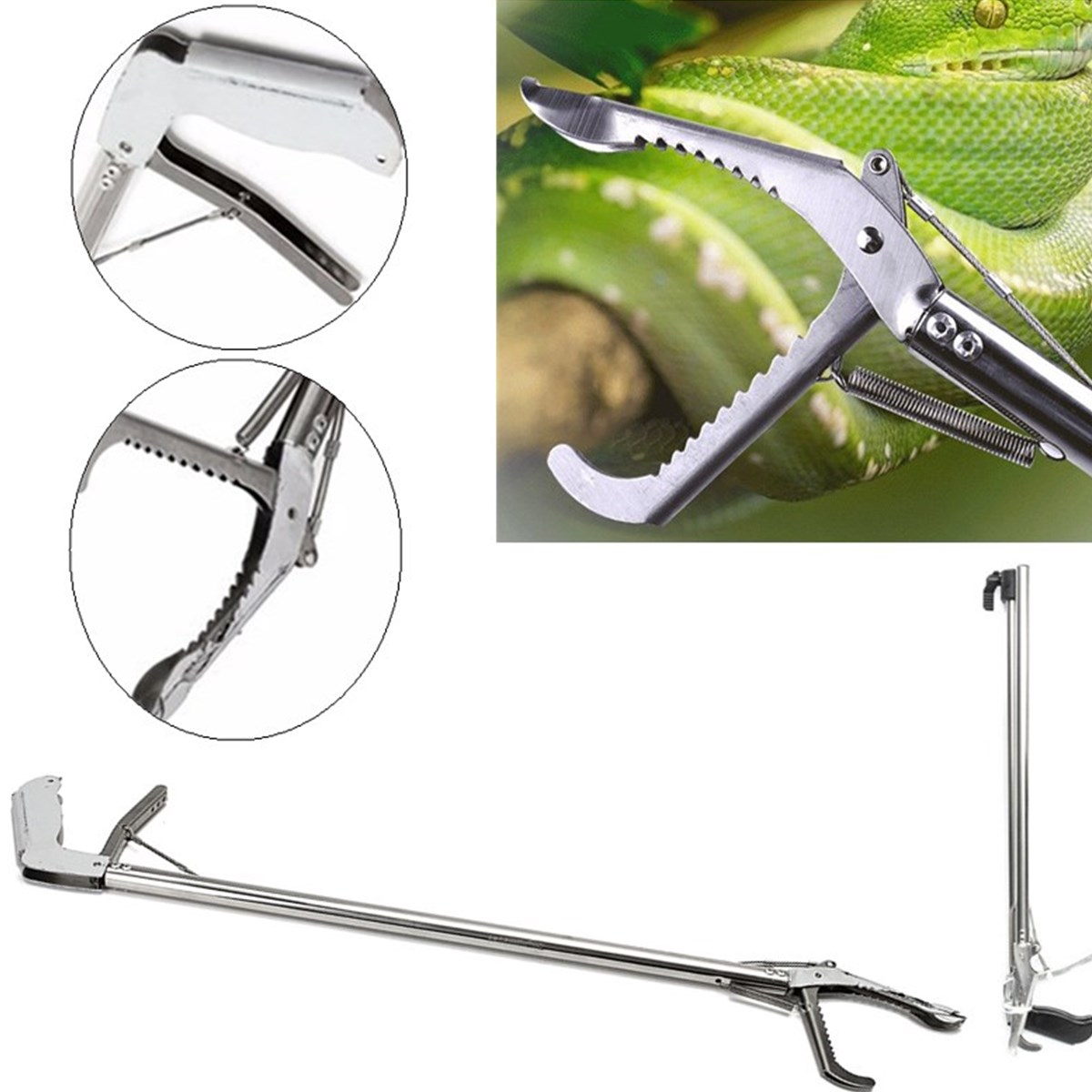 75CM Heavy Duty Lizards Foldable Reptile Snake Tongs Stick Grabber Catcher Wide Jaw Tool Heavy Snake Duty Pest Control Products