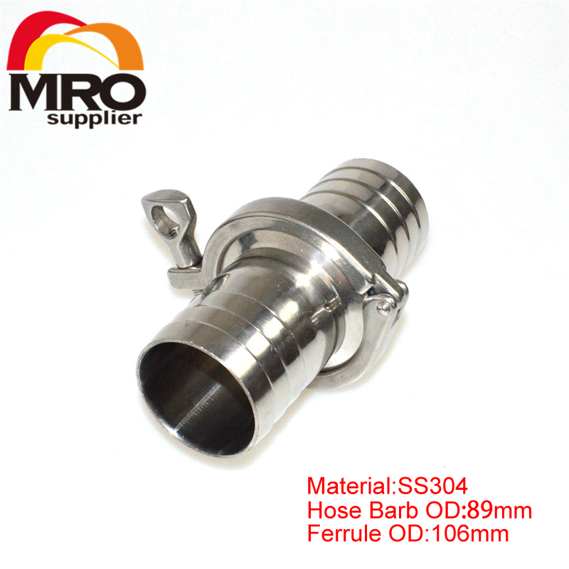 Free Shipping  89mm Sanitary Hose Barb Ferrule + Tri Clamp + Silicone Gasket Stainless Steel SUS SS 304 SSHT89 free shipping 2 51mm sanitary tri clamp 3 way tee stainless steel 304 sanitary ferrule tee connector pipe fitting tri clamp