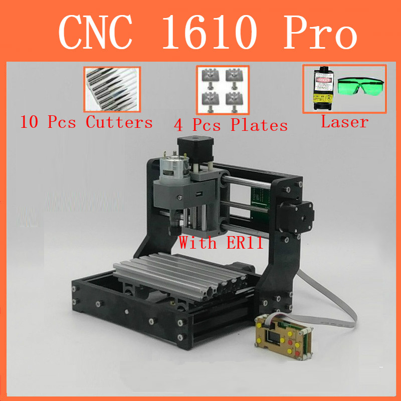 CNC1610 withER11 diy mini cnc engraving machine laser engraving Pcb PVC wood router cnc 1610 pro
