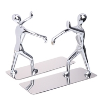 1 Pair Stainless Steel Human Shape Book Clip Heavy Duty Humanoid Figure Bookend Non Skid Home