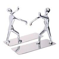 1 Pair Stainless Steel Human Shape Book Clip Heavy Duty Humanoid Figure Bookend Non Skid Home Art Decoration Bookshelf