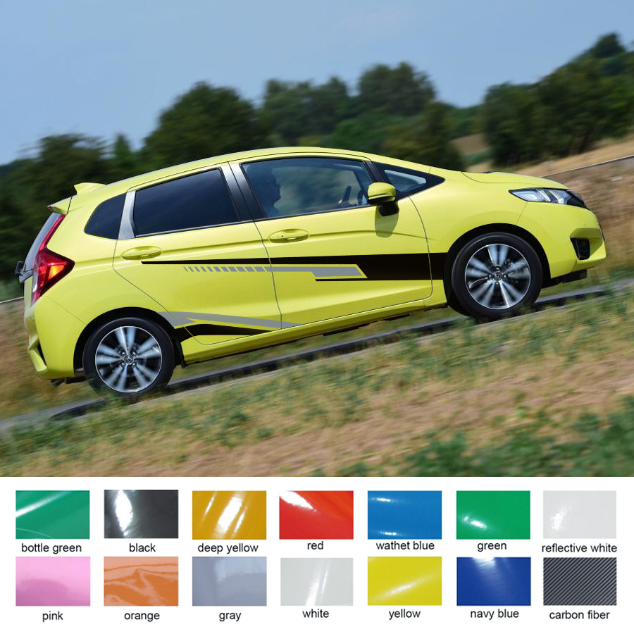 4pc two-tone racing side styling Car accessories sticker side door stripe graphic vinyl car decals for Honda fit 2014 on cool scorpion design die out vinyl sticker on car for vw polo golf mazda and so on fashion car side door decals labels