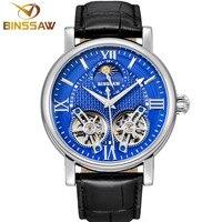 BINSSAW новые Tourbillon Автоматические Мужские механические часы оригинальные модные роскошные брендовые кожаные деловые часы Relogio Masculino