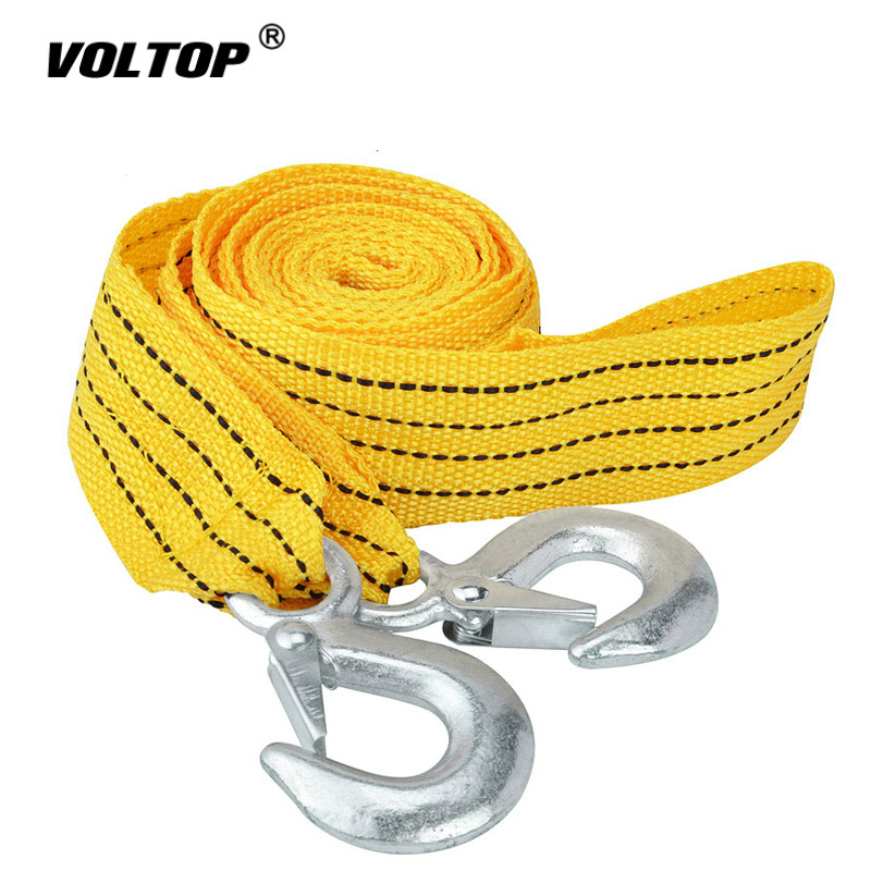 4M 3 Tons Car Towing Ropes Tow Cable Nylon Strap Rope Heavy Duty Pull with Hooks High Strenght