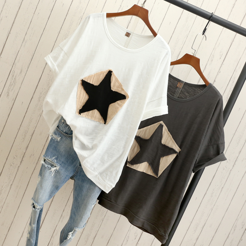 Plus size Women loose T shirt Star white black gray fashion casual cotton t shirts tops tee 100% cotton t shirts outwears-in T-Shirts from Women's Clothing