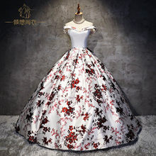 100%real 18thcentury royal court white/black cosplay ball gown medieval dress Renaissance gown queen Victorian Belle Ball gown