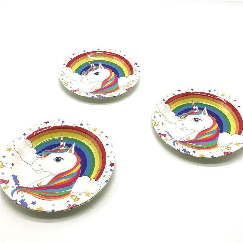 Cartoon Rainbow Unicorn 6pcs Paper Plate Wedding Family Party Disposable Plate Kids Birthday Party Event Party Dishes Supply