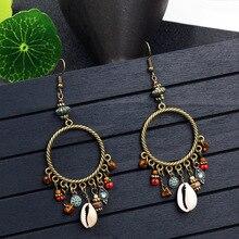 Ethnic Wood Beads Shell Earrings Tassel Earrings Vintage Tassels Earrings for Her Gift Statement Drop Earrings Boho Jewelry недорого