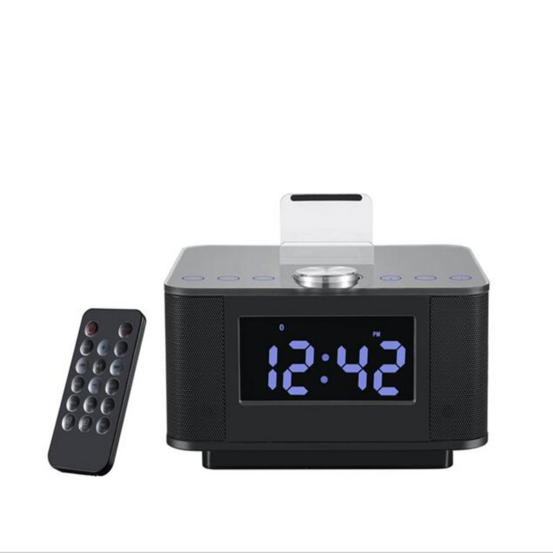 цена LCD Digital FM Radio Alarm Clock Music Dock Touch Station Bluetooth Stereo Speaker for Samsung Xiaomi Huawei iPhone 7