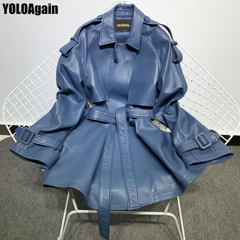 YOLOAgain Women Genuine Leather Coat Ladies Lapel Long Real Leather Trench With Belt