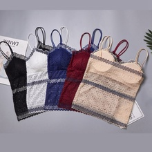 2019 Fashion Lace Tube Top Women's Soft Tank Top Bra  Woman Sexy Cropped Top velevet lace trimmed cropped tank top