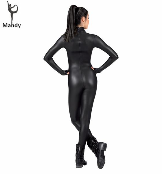 Bodysuit Turtleneck Long Sleeve Metallic Unitard Gymnastics