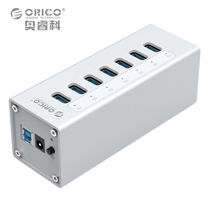 Aluminum USB 3.0 HUB ORICO 7 Port HUB with 12V2A Power Adapter and 3.3Ft. USB3.0 Date Cable - Sliver (A3H7) hub adapter 3 usb 2 0 ports