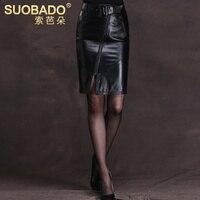 Sheepskin leather skirt women's slim hip skirt zipper Ladies office step placketing skirt female genuine leather bust skirt