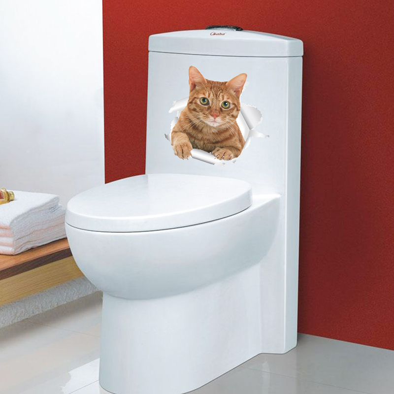 Cats Dog 3D Wall Sticker Bathroom Toilet Living Room Kitchen Decoration Animal Vinyl Art Sticker Poster 15