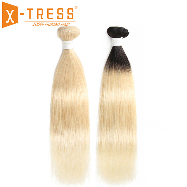 Ombre Black Blonde 613# Color Straight Human Hair Weave Bundles 1 Piece X-TRESS Brazilian Non Remy Hair Weft Extensions 8-26inch