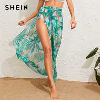 SHEIN Tropical Print Tie Waist Semi Sheer Cover Up Skirts Womens Summer Beach Style Bohemian Vacation Sexy Split Maxi Skirt