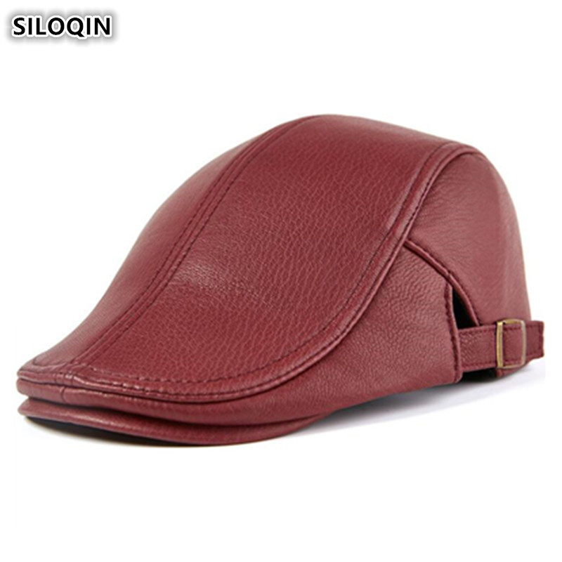 SILOQIN Genuine Leather Hat Elegant Women's Fashion Berets Men's Sheepskin Tongue Cap Autumn Winter Adjustable Size Leather Hats