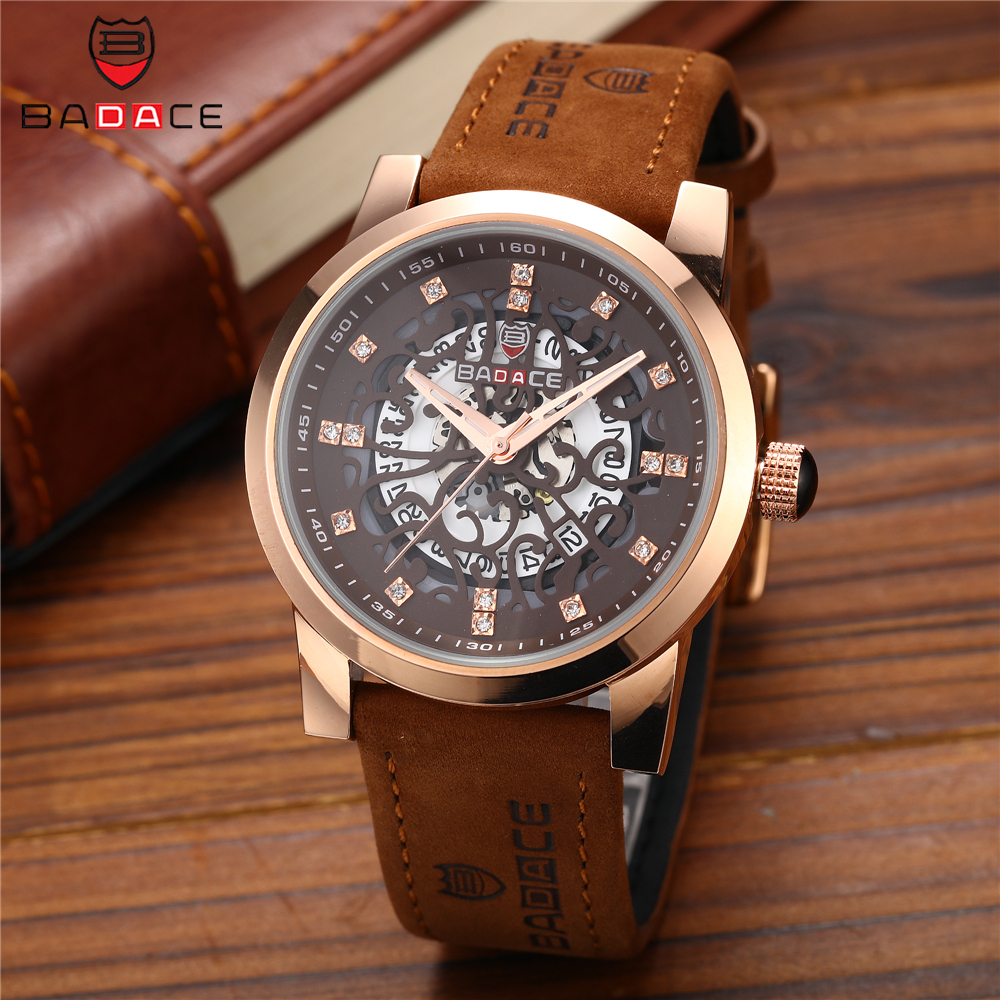 BADACE Men Quartz Watch Top Brand Luxury Leather Strap Clock Diamond Mens Watches Sport Relogio Masculino Man Wristwatch hongc watch men quartz mens watches top brand luxury casual sports wristwatch leather strap male clock men relogio masculino