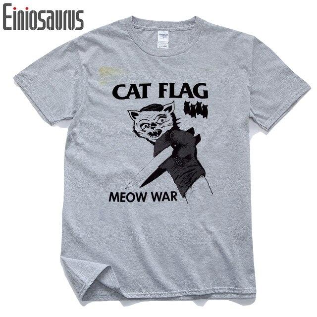 White Grey Cotton Men Tops Black Cat Flag Yak Flag Meow War Harajuku Style T-shirts For Men Male Black Flag Hip Hop Shirts Men